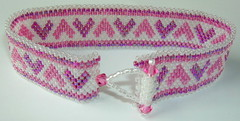 Head Over Heels (fivefootfury) Tags: pink white love hearts jewelry bracelet peyote beaded toggle beadwoven