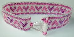Head Over Heels (fivefootfury) Tags: pink white love hearts jewelry bracelet peyote beaded toggle beadwoven