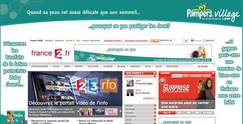 Capture d'écran du site web de France 2 où la publicité occupe 50% de l'espace visible