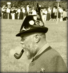 Typical Portrait of Bavaria Germany ? (Batikart) Tags: life travel summer vacation portrait people blackandwhite bw man face canon germany beard geotagged bayern deutschland bavaria blackwhite interestingness holidays gesicht leute sommer character smoke urlaub pipe bart streetportrait oldman menschen smoking explore sw mann typical schwarzweiss 2008 vacanze leben tegernsee bavarian medals pfeife orden rauch canonpowershot a610 mensch rauchen altermann typisch canonpowershota610 rottachegern peopleoftheworld worldportrait 50faves 10faves i500 viewonblack batikart strassenportrait schtzenhut squarecapture
