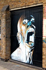 'the scream' (jordi.martorell) Tags: door urban streetart london face mouth mantis geotagged graffiti canal scary nikon open union explore scream hackney guessed guesswherelondon 1855mmf3556g hertford gwl d40 explored nikond40 guessedbybravo99photography