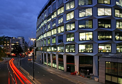 One Coleman Street (david.bank (www.david-bank.com)) Tags: city uk england london architecture dusk lighttrails bluehour modernarchitecture cityoflondon officeblock londonwall morgate onecolemanstreet davidwalkerarchitechs