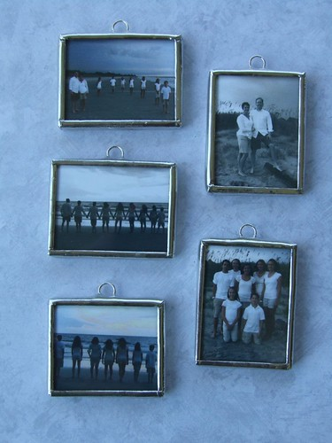 collage of family beach photo pendants