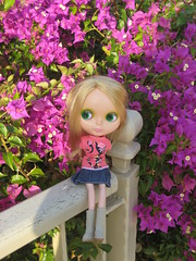 Greta with purple flowers