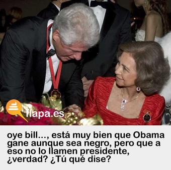 Doña Sofía habla con Bill Clinton