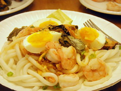 pancit palabok w/ canned oysters, mussels....