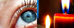 iCandle (littlefishyjes) Tags: blue white hot eye colors yellow contrast fire cool nice candle peace close bright peaceful calm burning flame burn wax mascara