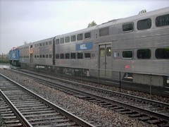 Westbound Metra commuter local. La Grange Illinois. Early April 2007.
