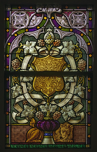 Saint George Roman Catholic Church, in New Baden, Illinois, USA - stained glass window - grapes and lion