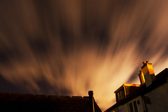 Over it goes (Alex Wigmore) Tags: houses roof chimney sky blur colour alex window wall wales night clouds stars photography tv nikon long exposure shine bright united kingdom overcast aerial alexander penarth 18mm wigmore d40 kartpostal bej