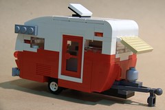Shasta Teardrop Travel Trailer: Right/Front (Bill Ward's Brickpile) Tags: camping town lego shasta vehicle trailer rv teardrop campground camper traveltrailer lugnuts allbutfour
