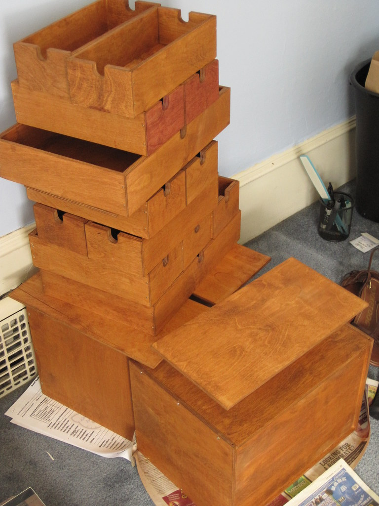 Tower o' IKEA desktop drawer-things, being refinished
