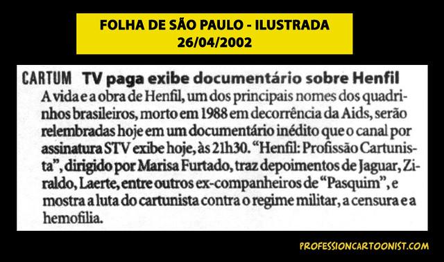 """""""TV paga exibe documentário sobre Henfil"""" - Folha de São Paulo - 26/04/2002"""