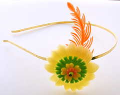 Yellow, Green and Orange Vintage Flowers Headband