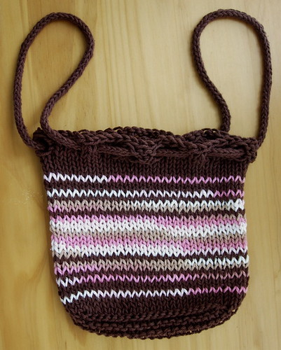 Brown and Pink Cotton Knit Purse -- Short Handles
