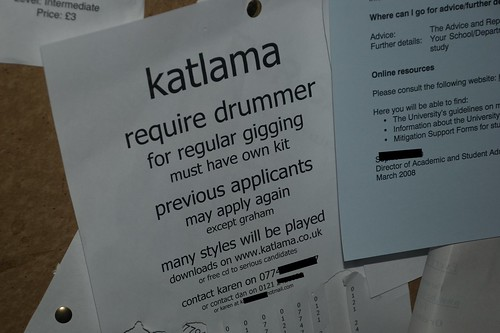 katlama require drummer for regular gigging. previous applicants may apply again...except Graham