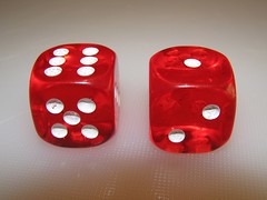 Sevens (rosswebsdale) Tags: red dice 7 seven picnik colourartaward