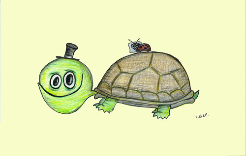 Clyde the Turtle and his Ladybug bride por pretty-kitty.
