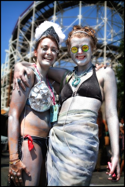 Lisette and Mary, a couple of shiny sparkly silver friends at the Coney Island Mermaid Parade in 2008.