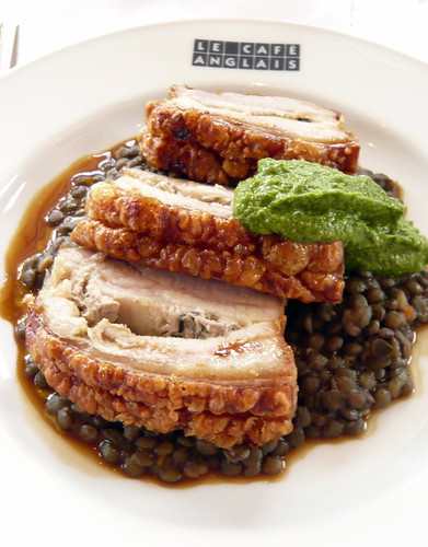 Le Café Anglais, Bayswater - Belly of Gloucester Old Spot Pork with Fennel Seeds, Rosemary & lentils