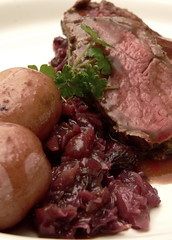 Red: Roast Chateaubriand, Red Potatoes, Red Cabbage (HarlanH) Tags: red food color cooking club dinner potatoes beef roast cabbage tenderloin entree chateaubriand cookingclub