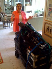 Mom with a mountain of ABC camera equipment