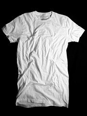 Wrinkled Front- White (ir0cko) Tags: white male threadless plain wrinkled onblack blanktee
