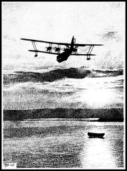 IMPERIAL SUNSET (Norfolkboy1) Tags: sunset pen ink 1930s flyingboat stipple rapidograph originaldrawing imperialairways shortkent panthonybromage