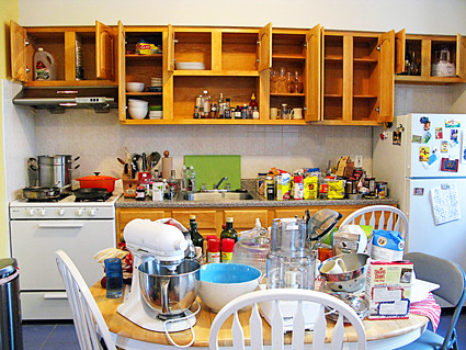 Take everything out of the cabinets drawers cupboards closets