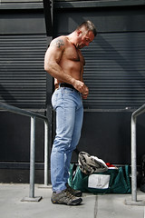 Muscle Hunk_7019 (picman1108) Tags: hairy man male muscles chest hunk jeans denim tall bluejeans levis
