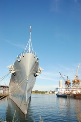 USS Salem park: the bow of the ship (Chris Devers) Tags: ocean bridge sea water museum architecture river ma quincy boat ship unitedstates massachusetts mommy navy may vessel maritime vehicle drawbridge salem nautical naval 2008 usnavy weymouth cruiser uss warship coldwar liftbridge shipbuilding quincyma foreriver usssalem heavycruiser foreriverbridge ca139 cameranikond50 forerivershipyard weymouthma exif:flash=flashdidnotfire exif:exposure=0004sec1250 exif:focal_length=18mm exif:aperture=f10 unitedstatesnavalshipbuildingmuseum exif:iso_speed=250 exif:exposure_bias=06ev camera:make=nikoncorporation camera:model=nikond50 meta:exif=1257954914 exif:orientation=horizontalnormal exif:filename=dscjpg meta:exif=1350405618
