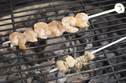 Grilling shrimp and oysters