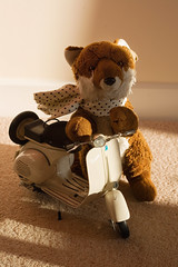 Day 314 - Mr Fox's Vespa (The Fox and the Polar Bear) Tags: scarf italian europe european vespa transport silk scooter fox present vehicle gadget favouritethings day314 project365 365days abigfave mrfox toyproject