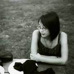 pensive (visual.dichotomy) Tags: old 2 two portrait white black girl vintage glasses thoughtful oldschool teen ii thinking teenager pensive agfa isolette