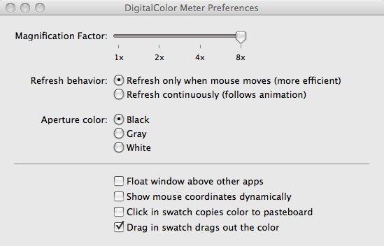 DigitalColor Meter Preferences