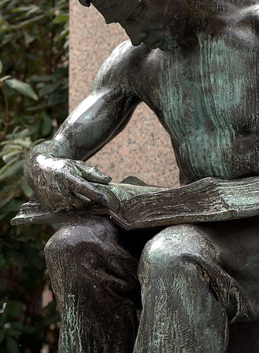 "Detail, Daniel Chester French's 1904 Bronze, ""Labor Reading"" (Pittsburgh, PA) by takomabibelot."