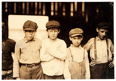 Lewis Hine: Youngsters on day shift, Old Dominion Glass Co., Alexandria, Virginia, 1911