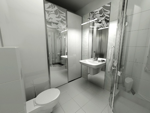 Luxury White Bathroom for a private apartament, Cracow, by InsideLab