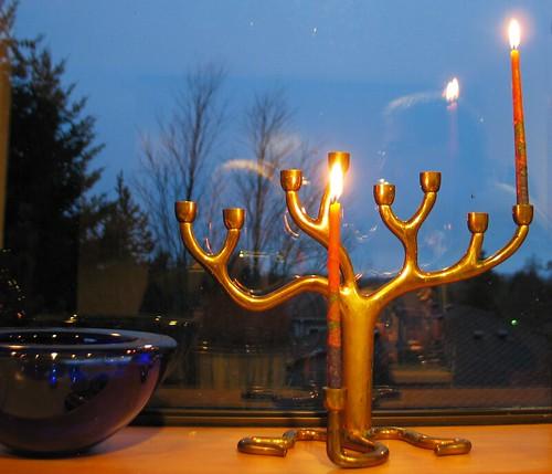 The menorah on the first night of Hanukkah