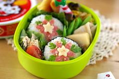 Poincettia bento (luckysundae) Tags: onigiri kawaii bento japanesefood おにぎり obento facefood colorphotoaward charaben kyaraben キャラ弁