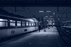 CRW_23239 (antsyshkin) Tags: man holland netherlands lamp station amsterdam night train lights walk platform terminal centraal