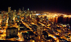 Seattle night (WorldofArun) Tags: world ocean seattle city light sunset shadow urban mountain west art history ferry architecture night skyscraper docks wonder lights evening coast harbor pier washington nikon downtown cityscape pacific zoom queenanne scenic neighborhood explore disk needle transportation rainier sound belltown planet spaceneedle pugetsound bremerton flyingsaucer monorail elliottbay bainbridge 2008 volcanic cascade 1962 schedule mountbaker observationdeck worldfair cascaderange seattlemonorail 18200mm washingtonstateferries wsdot nikond40x yenumula cascadevolcanicarc worldofarun hoveringdisk arunyenumula
