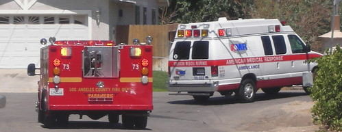 LA County Fire Department and AMR Ambulance by Navymailman.