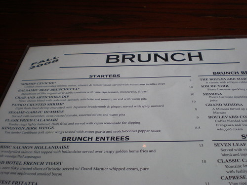 Brunch Menu at Boulevard Woodgrill