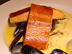 Bradan Rost (kiln-roasted salmon), char-grilled with a shellfish, mushroom and whisky sauce at Loch Fyne, Newhaven Harbour, Edinburgh