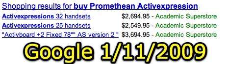 Promethean Activexpression pricing via Google Search: 11 Jan 2009