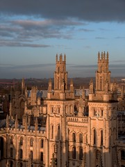 Oxford (penwren) Tags: england building history architecture university view spires january oxford neogothic allsouls viewonblack fromstmarys stmarythevirginchurchtower 127steps hawksmoorstowers didimentionspiralstairs