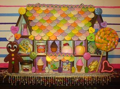 Gingerbread House (Rainbow Mermaid) Tags: shadow man color art glitter altered miniature 3d shrine colorful candy sweet box handmade craft kitsch sweets colourful nicho lollipop diorama rainbowmermaid