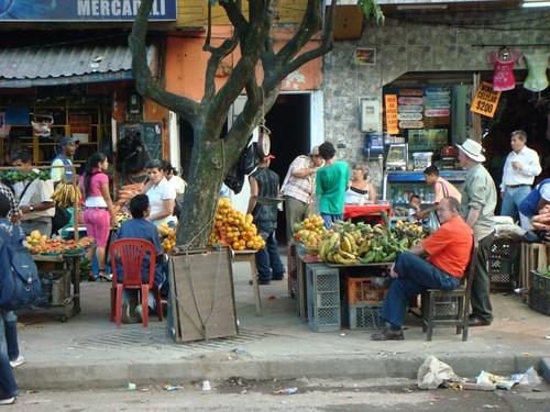Market street in central Medellín...