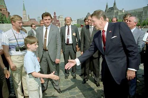 Putin y Reagan y el plaza roja